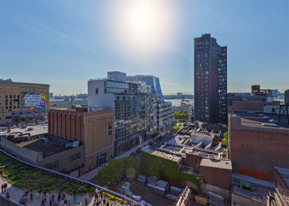 Views of the High Line and the Chelsea neighborhood from 505 West 19th Street condos