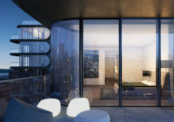 Rendering of 520 West 28th Street bedroom and balcony.