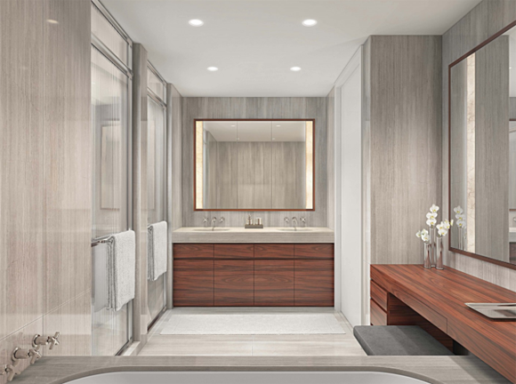 60 East 86th Street rendering of a luxury condo's bathroom, with rosewood and marble