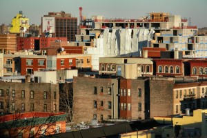 A rooftop view of condos in East Harlem New York