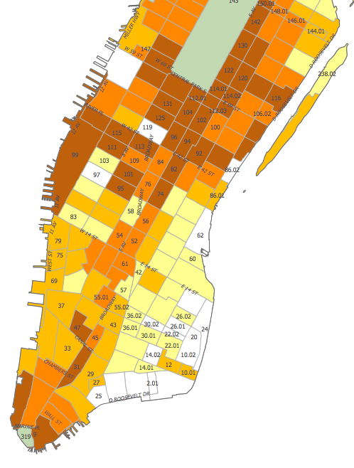 Manhattan neighborhood and district zoning map