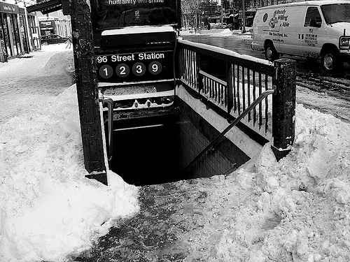 Snow at the 96th Street Subway Station