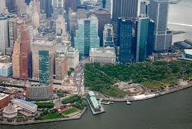 battery park from a helicopter