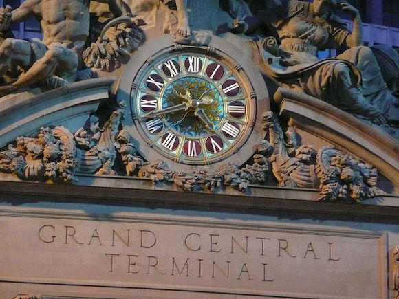 Famous Tiffany clock outside Grand Central Terminal.