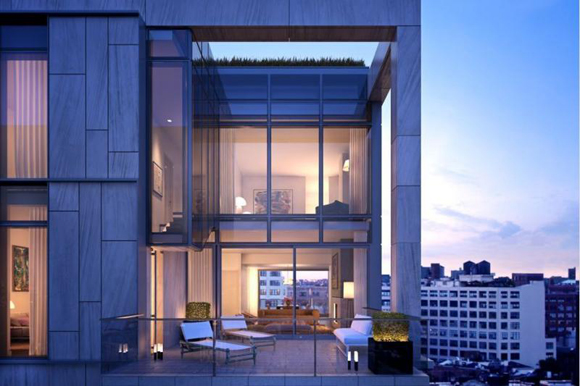 Rendering of a private terrace at One Vandam luxury condominiums in Soho, Manhattan.