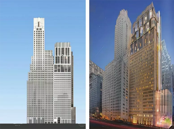 New renderings of added construction at the conversion of luxury condominiums at One Wall Street in the Financial District