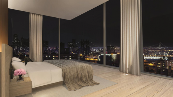 Rendering of a bedroom in 215 Chrystie Street, a luxury condo and hotel designed by Herzog & de Meuron.