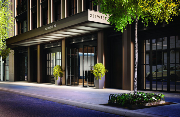 Rendering of 221 West 77th Street main entrance.
