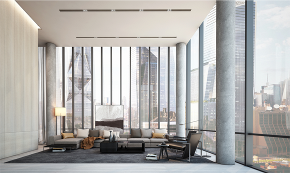 Rendering of a living room at 515 Highline, a new construction condo in Manhattan.