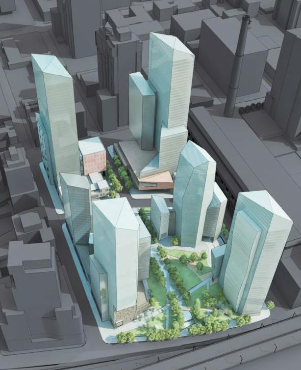 An early image of what Riverside Center is planned to look like in Manhattan