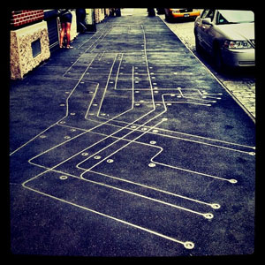 Subway Map Floating on a NY Street