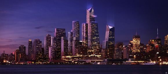 Rendering of Hudson Yards from New Jersey at dusk