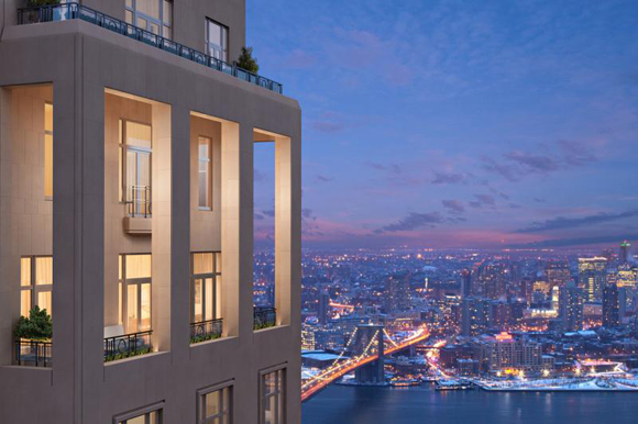 Rendering view of 30 Park Place's penthouse terraces