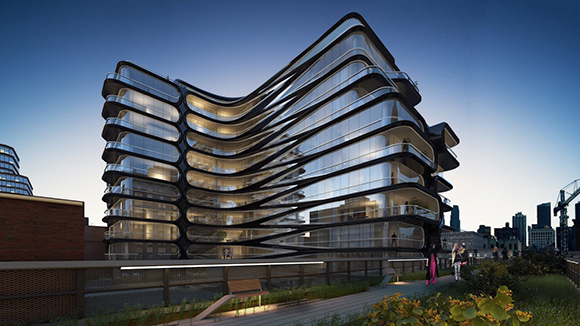 Zaha Hadid starchitect luxury apartment rendering at 520 West 28th Street near the High Line